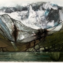 Gosausee with glacier - watercolour - Iona-Carter