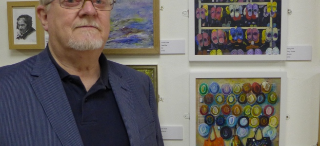 Harry Bell by his work in the Friends Summer Exhibition 2019